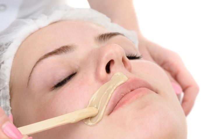 beauty salon, mustache depilation, facial skin treatment and care