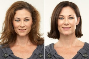before and after brunette