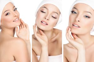 three photos in one, the girls take care of the skin.