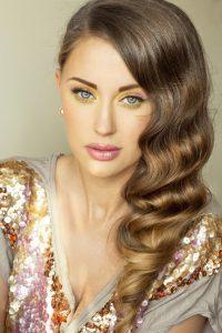 Closeup portrait of luxury brunette. Beautiful young woman.
