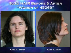 SoZo HAIR Before and After Happy Client Gina