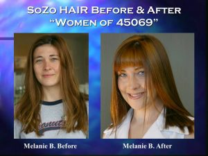 SoZo HAIR Before and After Happy Client Melanie