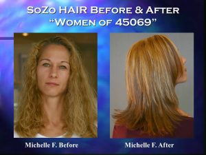 SoZo HAIR Before and After Happy Client Michelle